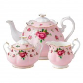 New Country Roses Pink Vintage Teapot, Sugar & Creamer (22221)