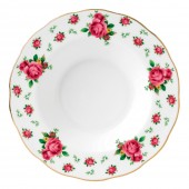 New Country Roses White Vintage Rimmed Soup Bowl (22235)