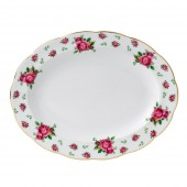 New Country Roses White Vintage Oval Platter (22237)