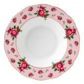 New Country Roses Pink Vintage Rimmed Soup Bowl (22239)