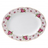 New Country Roses Pink Vintage Oval Platter (22241)
