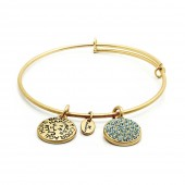 Good Fortune Birthstone Collection Aquamarine Gold Plated Bracelet (23028)