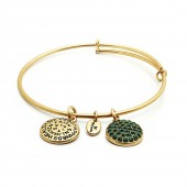 Good Fortune Birthstone Collection May Emerald Gold Plated Bracelet (23032)
