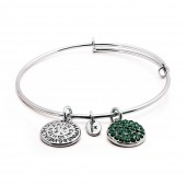 Good Fortune Birthstone Collection May Emerald Rhodium Plated Bracelet (23033)