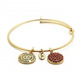 Good Fortune Birthstone Collection Ruby Gold Plated Bracelet (23036)