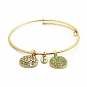 Good Fortune Birthstone Collection August Peridot Gold Plated Bracelet (23038)