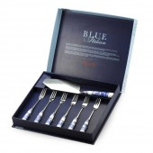 Blue Italian Cake Slice and 6 Pastry Forks (23251)