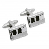 Unique Jewellery Black Onyx Steel Cufflinks (23503)