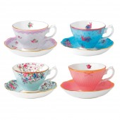 Candy Collection Teacup and Saucer - Set of 4 (23616)
