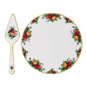 Old Country Roses Tea Cake Plate and Server (23650)