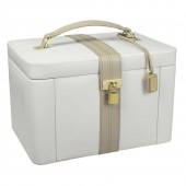 Dulwich Designs Extra Large Cream and Mink Leather Jewellery Box (23694)