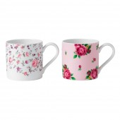 Marvellous Mugs Rose Confetti & New Country Roses Pink Mugs- Set of 2 (23744)