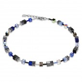 Geo Cube Blue-Grey Necklace (23883)