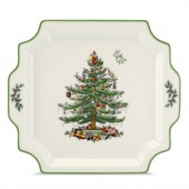 Christmas Tree Square Handled Platter - 31.5cm (25387)