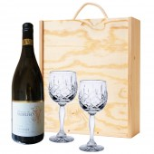 Drinking Gifts French White Wine and 2 Cut Crystal Wine Glasses (2556)