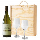 Drinking Gifts Gift Boxed French White Wine and Pair of Dartington Wine Glasses (2562)