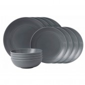 Maze Dark Grey Dinner Set  - 12 Piece (25664)
