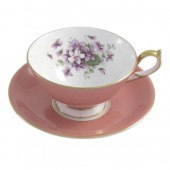 Vintage Collection Aynsley English Violet Athens Pink Teacup and Saucer (25916)