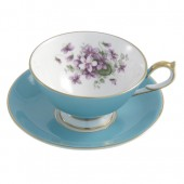 Aynsley English Violet Athens Turquoise Teacup and Saucer (25917)
