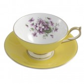 Aynsley English Violet Athens Yellow Teacup and Saucer (25919)