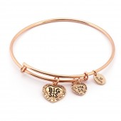 Thinking of You Big Sis Little Sis Rose Gold Plated Bangle (26132)