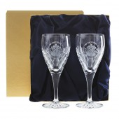 Royal Scot Box of Two Engraved Crest Kintyre Large Wine Glasses (26171)