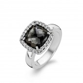 Silver Collection Black Stone and Zirconia Ring (26418)