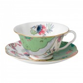 Butterfly Bloom Tea Cup & Saucer Green (26526)