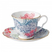Butterfly Bloom Tea Cup & Saucer Blue and Pink (26529)