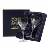 Scottish Thistle Pair of Wine Glasses (Presentation Boxed) (26660)
