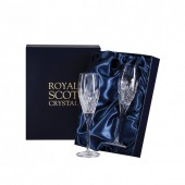 Scottish Thistle Pair of Flute Champagne Glasses (Presentation Boxed) (26662)