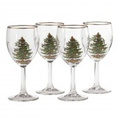 Christmas Tree Set of 4 Wine Glasses (26708)