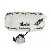 Cranberry Dish & Slotted Spoon (26733)