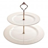 Monsoon by Denby Lucille Gold 2 Tiered Cake Stand (26847)