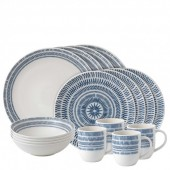 Cobalt Blue Chevron 16 Piece Dinner Set (27258)