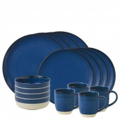 Cobalt Blue Brushed Glaze 16 Piece Dinner Set (27259)