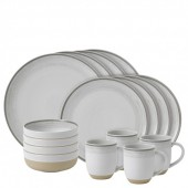 Soft Taupe White Brushed Glaze 16 Piece Dinner Set (27268)