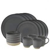Charcoal Grey Brushed Glaze 16 Piece Set (27277)