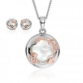 Tudor Court Mother of Pearl Pendant & Earrings Set (27372)