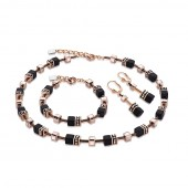 Black Rose Gold Necklace, Bracelet & Earring Set (27437)