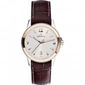 Mens Watches Mens Ambassador Steel and Rose Gold Watch Brown Leather Strap (28537)