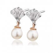 Eternal Love Silver and 9ct Rose Gold Windsor Pearl Earrings (28899)