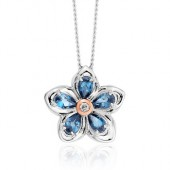 Forget Me Not Silver and Topaz Pendant (28922)