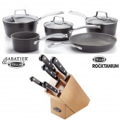 5 Piece Saucepan Set Glass Lids and 5 piece knife block set (28974)