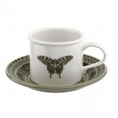 Botanic Garden Harmony Breakfast Cup and Saucer Forest Green (29101)
