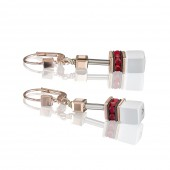 Geo Cube Rose Gold White and Red Earrings (29283)