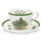 Christmas Tree Tea Cup & Saucer (4398)