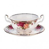 Old Country Roses Soup Cup and Stand (7979)