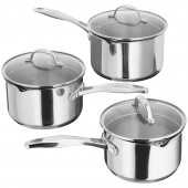 Stellar 3 Piece Saucepan Set Glass Lids (9783)