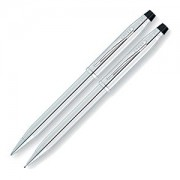 Lustrous Chrome Ball Point Pen and Pencil Set (11724)
